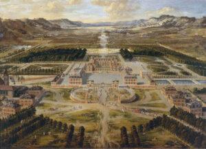 Versailles, Das Schloss um 1668. Ölgemälde von Pierre Patel (Quelle Wikipedia)
