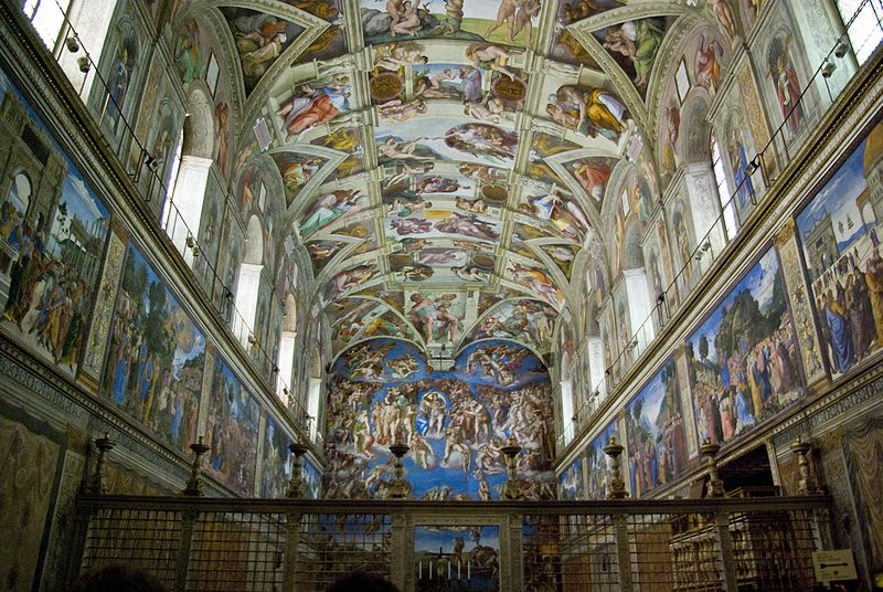 Michelangelo: Altargemälde, Vatikanische Museen, Rom (Foto von: Antoine Taveneaux, Creative Commons, Wikipedia (https://commons.wikimedia.org/wiki/File:Chapelle_sixtine2.jpg))
