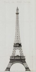 Stephen Sauvestres überarbeiteter Vorentwurf von 1887, das Bild ist gemeinfrei, Eiffelturm, Paris