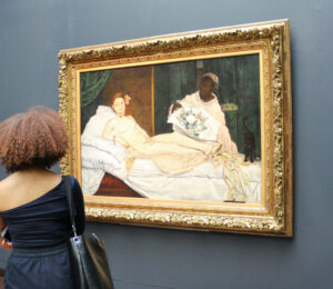 Edouard Manet: Olympia, 1863, Öl auf Leinwand, 130,50 x 191 cm, Musée d'Orsay, Paris