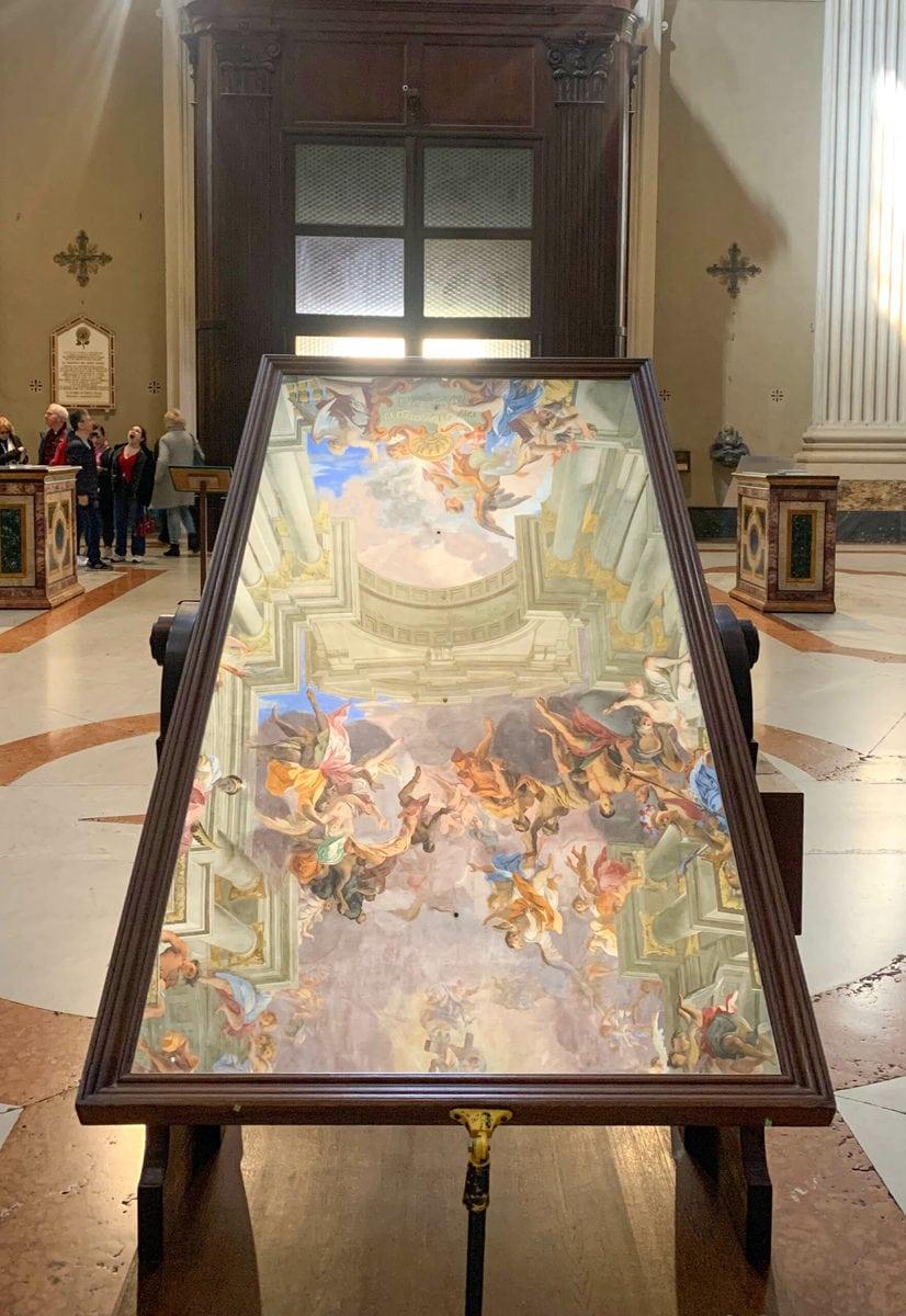 Spiegel zur Betrachtung des Deckenfreskos, Sant'Ignazio, Sant'Ignazio de Loyola, Rom
