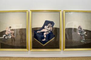 Francis Bacon Triptychon, Three Figures in a Room (Trois personnages dans une pièce), 1964, Öl auf Leinwand, 198 x 441 cm, Centre Pompidou, Paris