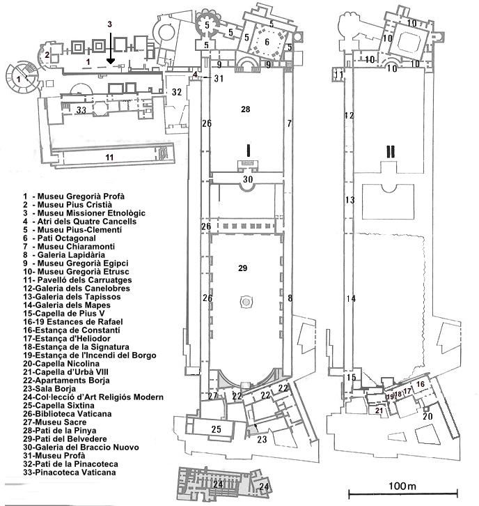 Plan der Vatikanischen Museen, Rom, Wikipedia, Creative Commons, by Amadalvarez