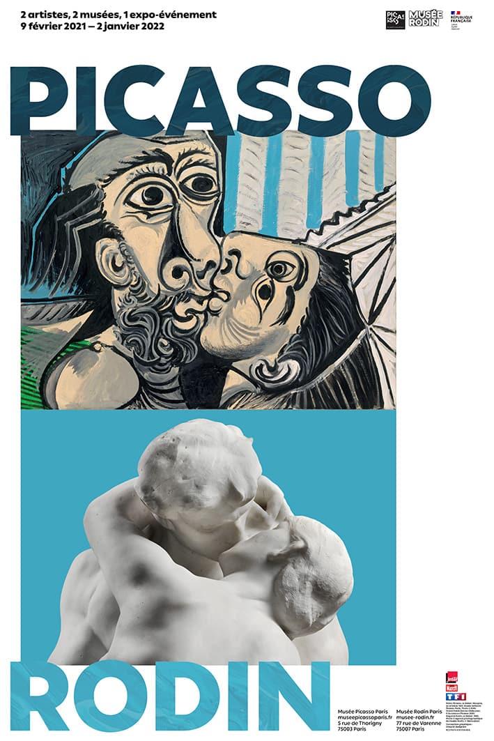 Ausstellung Picasso - Rodin, Picasso Museum, Paris (Bildschirmfoto), Pablo Picasso, Le Baiser, Mougins, 26 octobre 1969, Musée national PicassoParis, Photo ©RMN-Grand Palais, Adrien Didierjean, ©Succession Picasso 2021. Auguste Rodin, Le Baiser, 1882 ©Musée Rodin, ph. Hervé Lewandowski.