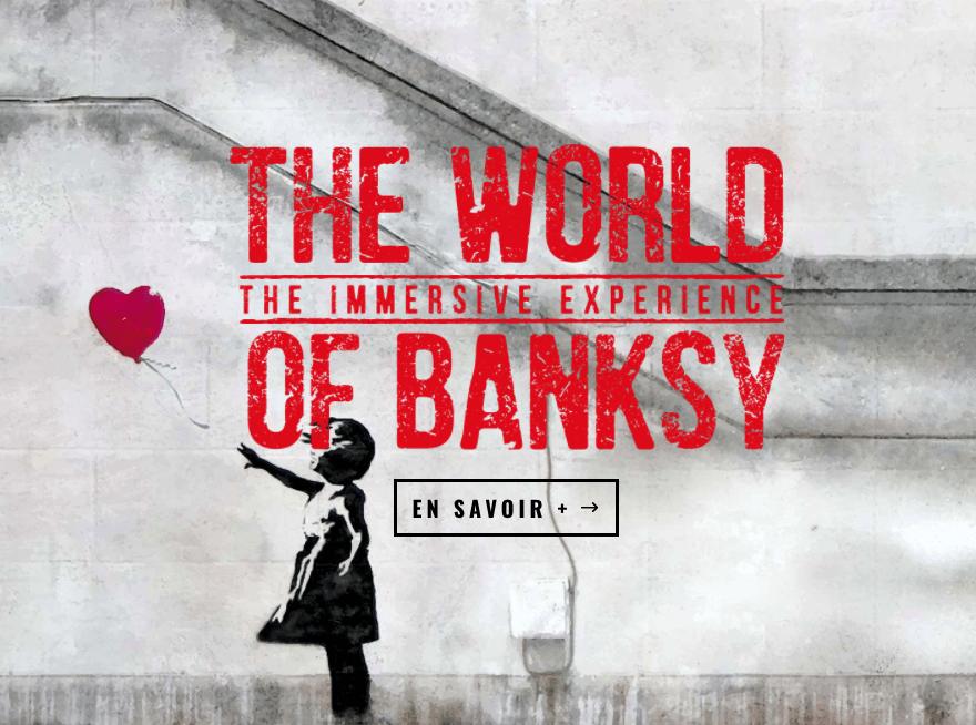 Ausstellung Banksy, The Immersive Experience, Espace Lafayette-Drouot, Paris (Bildschirmfoto), Banksy: Girl with Balloon