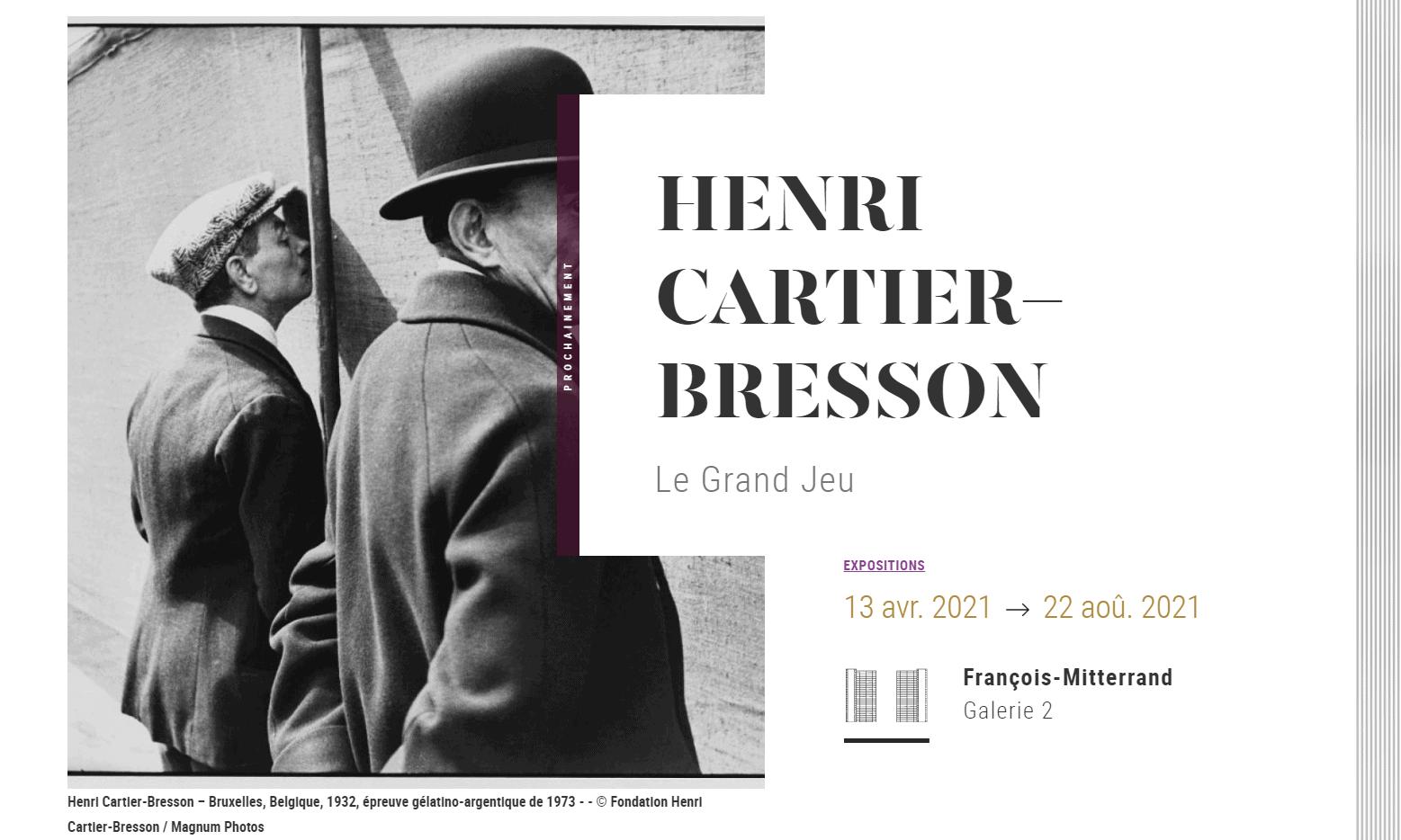 Ausstellung Henri Cartier-Bresson, Bibliothéque national de France, Paris (Bildschirmfoto),  Henri Cartier-Bresson – Bruxelles, Belgique, 1932, épreuve gélatino-argentique de 1973 - - © Fondation Henri Cartier-Bresson / Magnum Photos