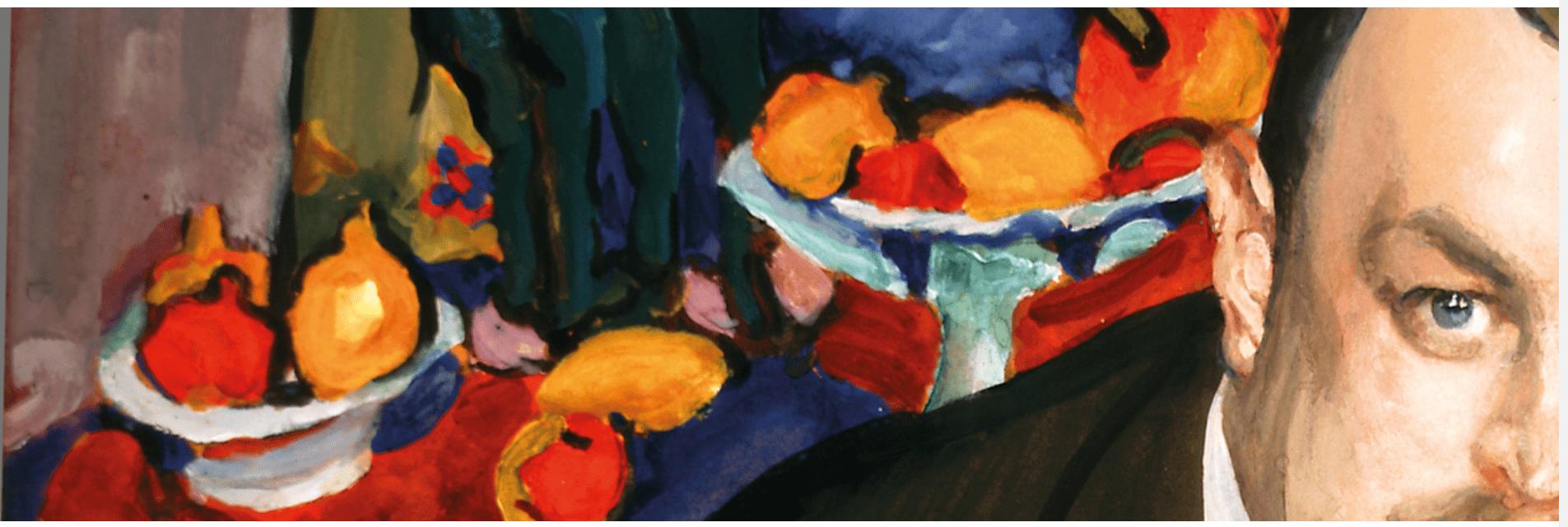 Ausstellung Ivan Morozov, Fondation Louis Vuitton, Paris, Valentin Sérov, Portrait du collectionneur de la peinture moderne russe et française Ivan Abramovitch Morozov, 1910, Galerie Trétiakov, Moscou (Detail, Bildschirmfoto)