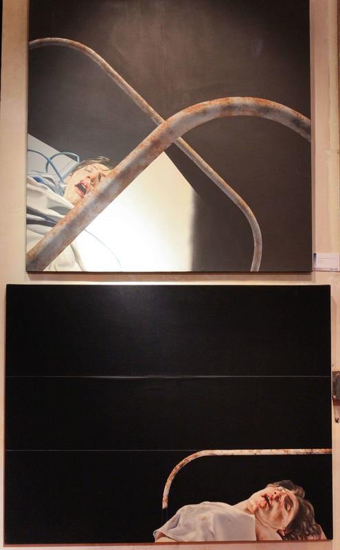 István Sándorfi: 1. Autoportrait posthume / Postumes Selbstporträt (1972), 114x146 cm 2. Survie II / Überleben II (1972), 130x130 cm, MEAM, Barcelona