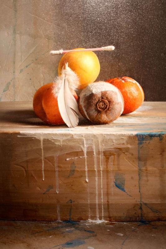 István Sándorfi: Fruits au coton-tige / Früchte mit Wattestäbchen (ca. 2000), 60x50 cm, MEAM, Barcelona