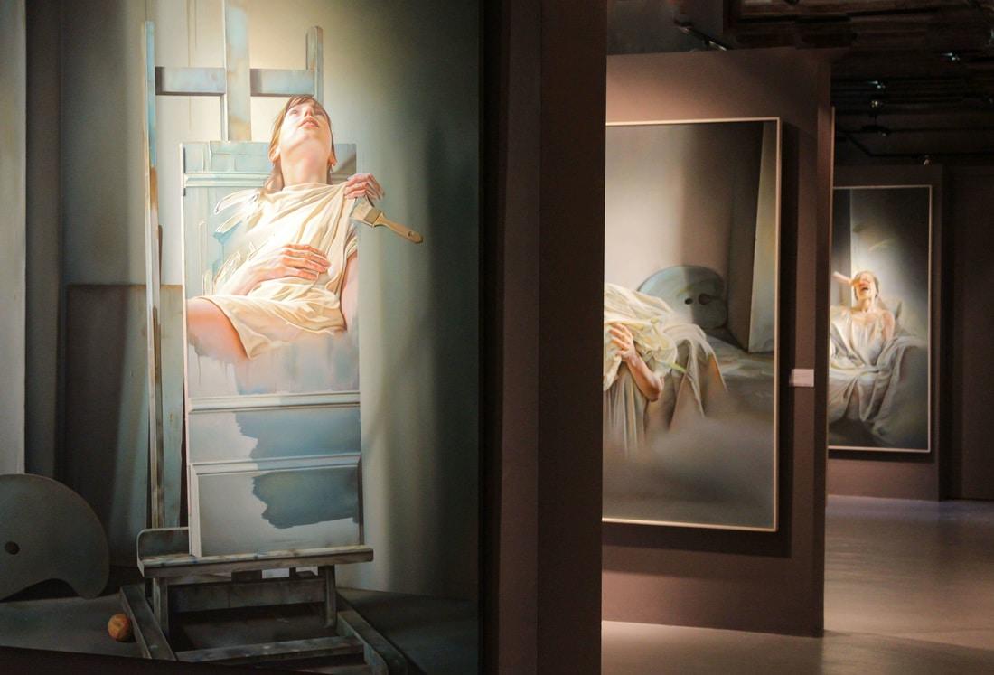 István Sándorfi: Ange en tableau - En cours de réalisation / Ange als Gemälde - In Arbeit (1986), 180x195 cm, MEAM, Barcelona